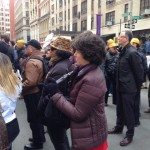 News Media Guild staffers Ana Tesfaye and Elaine King attend a service for the 146 victims of the Triangle Shirtwaist Factory fire.